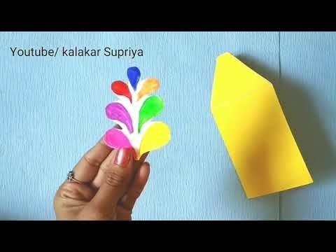 Happy Holi Greeting Cards  how to make Beautiful Holi Card  pop-up greetings card by Kalakar Supriya
