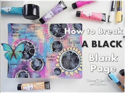 How to Break A BLACK Blank Page #1 Art Journaling ♡ Maremi's Small Art ♡