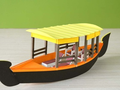 How to make a beautiful shikara boat from sun board and color paper  