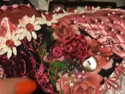 How to Make a Crazy Quilt Part 10 ~ Embellishing a Block ~ DancesWithPitBulls ~