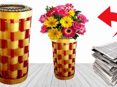 How To Make a Flower Vase at Home |  Newspaper Crafts | Best out of Waste