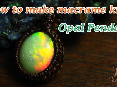 How to make a macrame wrapped handmade basic knot pendant Opal