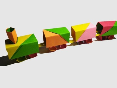 How to make a Paper Train - ORIGAMI PAPER TRAIN