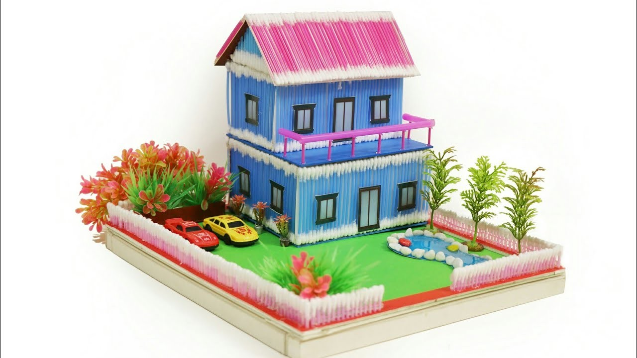 How to make a Wonderful Villa Using Cotton Bud, Straw, Pool with Slime