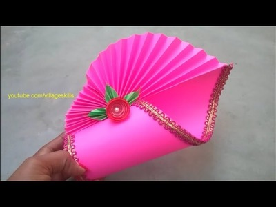 How to make amazing flower vase at home.DIY homedecor ideas.easy paper vase making techniques.pink