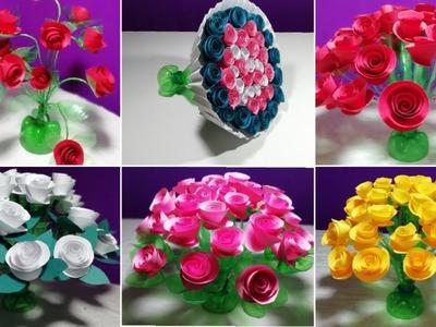 How to make Beautiful 6 Rose flowers || Make Wonderful paper Rose flower_Make Rose flower