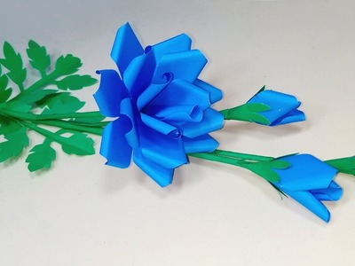 How to Make Beautiful Paper Blue Rose Stick Flower!! Paper Rose | Abigail Paper Crafts