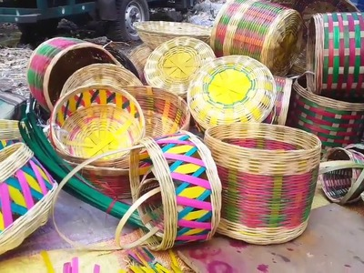 How To Make Colorful Bamboo Hand Fan - Indian Village Unique Bamboo Art