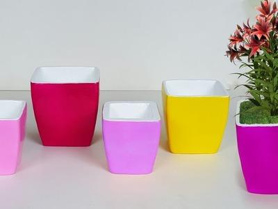 How To Make Flower Vase At Home|Handmade Cardboard Crafts Pot|Very Creative Cardboard Pot Making