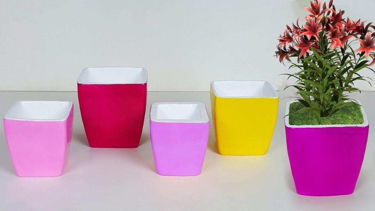How To Make Flower Vase At Home Handmade Cardboard Crafts Pot Very Creative Cardboard Pot Making