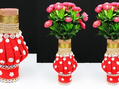 How to make flower vase with plastic bottle and woolen | Home Decor Ideas | Best out of Waste