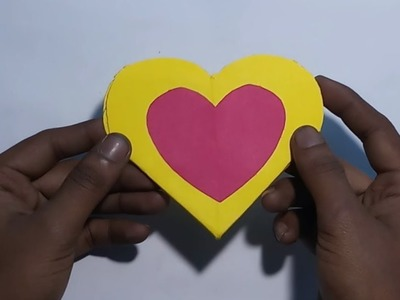 How To Make Handmade Heart Shape Card Using Color Paper|DIY Paper Folding Heart Card Craft Origami