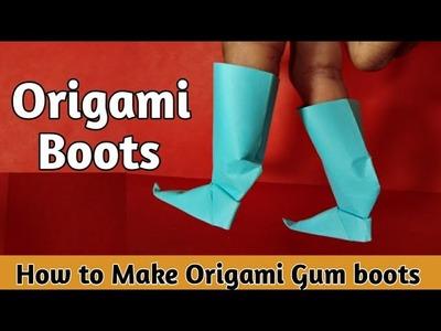 How to make origami Paper Boots ???? l origami boots,gum boots, kagaj ki boot banane ka tarika,