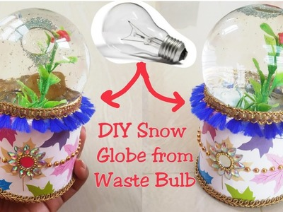 How to Make Snow Globe From Waste Materials.Best Out Of Fuse Bulb
