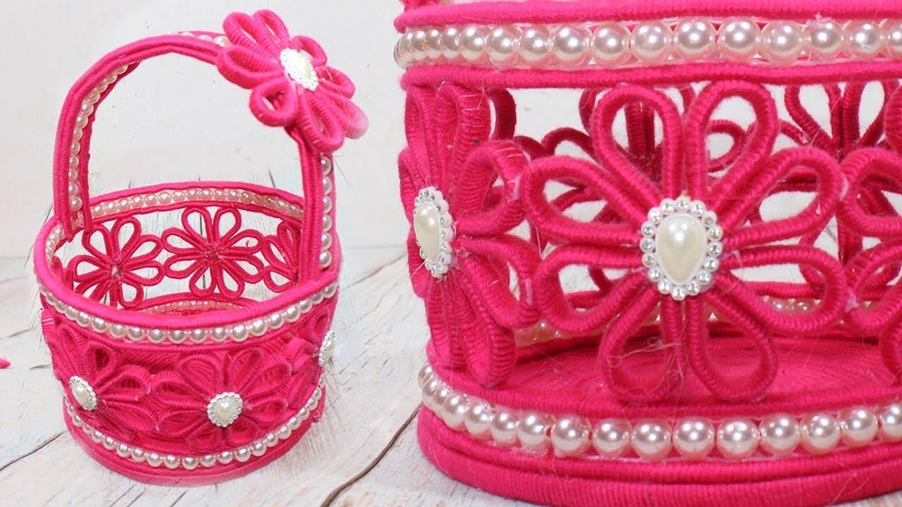 How to make Unique Woolen Basket | Innovative Ideas Of Flower basket