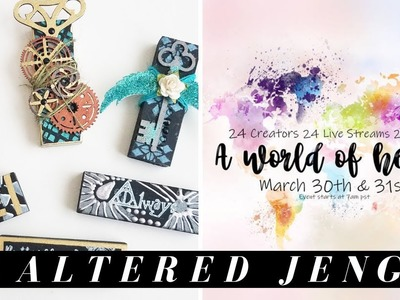 LIVE -  How to Make Mixed Media Jenga Blocks - a world of heART LIVE EVENT