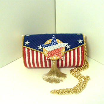 Red,White & Blue Patriotic Round Clutch/Purse