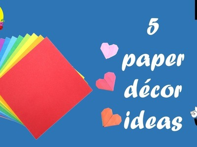 5 paper decor crafts | paper crafts for room decoration easy | diy home decor ideas with paper