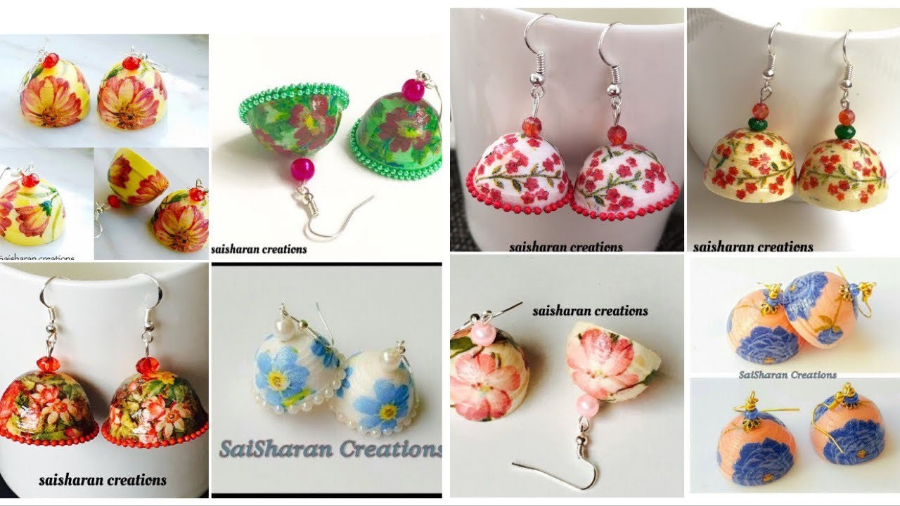 Decoupage paper jhumka collection.paper quilling jhumkas.Handmade paper decoupage earrings