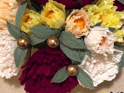DIY Crape Paper Flower Arrangement for a Round Table - 1 with patterns