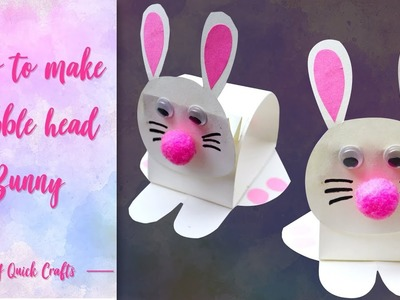 DIY Easy Paper Bunny for Easter Day | how to make bubble head paper bunny | craft  tutorial