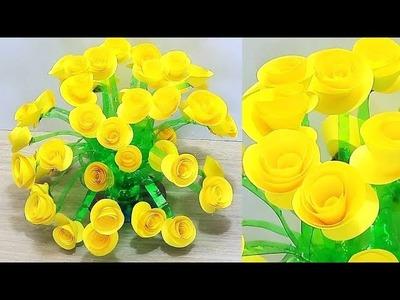 DIY PAPER GULDASTA.NEW DESIGN PLASTIC BOTTLE FLOWER POT.PAPER GULDASTA.VASE 1