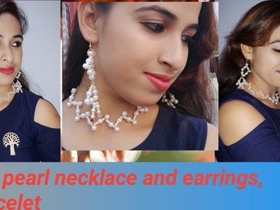 Diy pearl zig zag  necklaces ,Earrings & bracelet.simple pearl necklace step by step