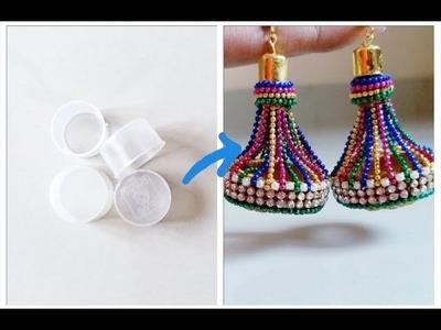 Earrings making at home diy || Holi earrings|| Best out of waste