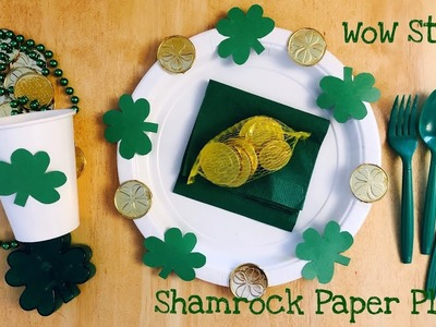 Easy Idea for Shamrock paper plate - diy St. Patrick's day party idea - dollar tree