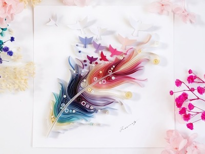 Feather Paper Quilling Color Art. quiling. 羽ペーパークイリングアート。깃털 페이퍼퀼링 아트