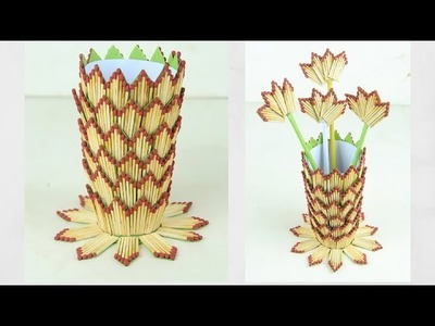 Flower vase diy | How to make flower vase with matchsticks | Easy Flower Vase | DIY Innovative Ideas
