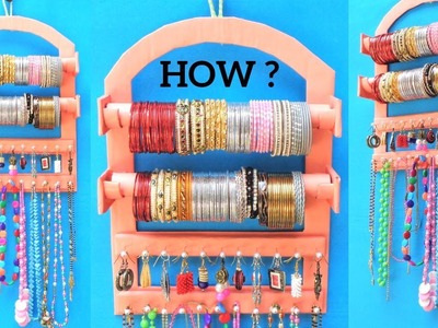 How to make Bangle Holder at Home with waste Cardboard | Best out of waste | DIY jewellery organizer