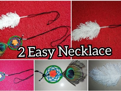 How to make Beautiful Woolen Chain.Necklace|| DIY Feather Chain||DIY  Dream Catcher Chain