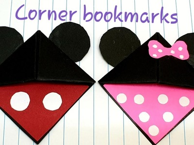 How to make corner bookmarks-Mickey Mouse and Minnie Mouse