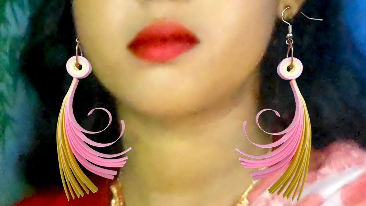 How to make earrings with Paper | DIY Quilling Paper Earrings for girls |  Momo Crafts |