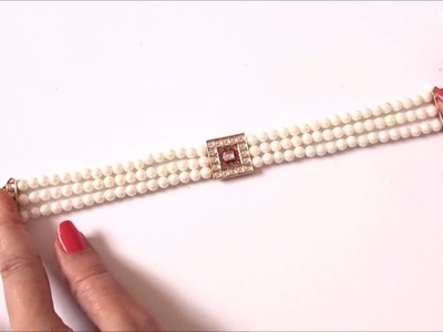 How to make Easy Pearl Choker Necklace - White Pearl Necklace - DIY - Art with HHS