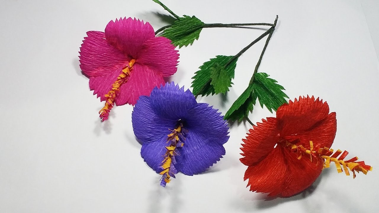 How To Make Hibiscus Flower With Paper Making Hibiscus Paper