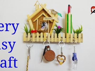 How to make wall Hanging Keychain Holder. Ice cream stick key Holder with Cardboard \ craftzone4u