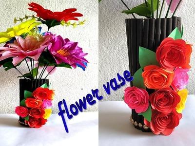 Newspaper flower vase || Handmade flower pot || DIY room decoration