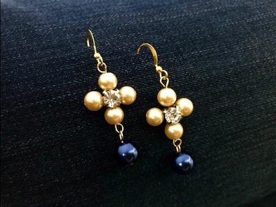 Pearls Montee Earrings.DIY Earrings. How to make Montee Earrings