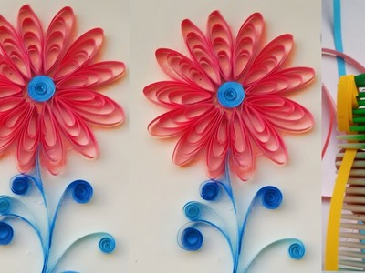 Quilling flower handmade tutorial # how to make flower with quilling papers # quilling paper art