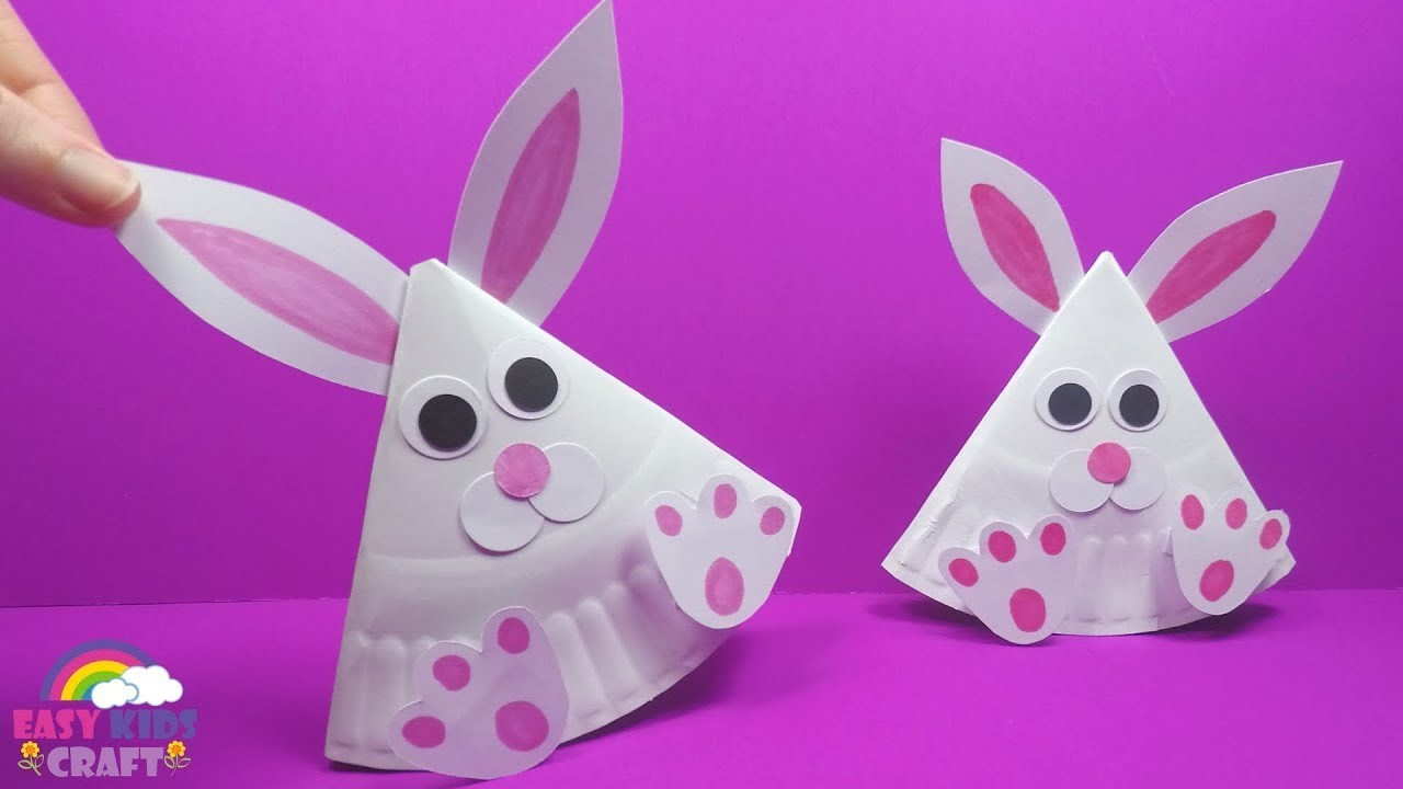 Rocking Paper Plate Bunny | Easter Crafts for Kids to Make