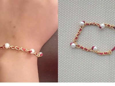 Silk thread bracelet| diy jewellery making| pearl bracelet|chain bracelet| diy bracelets