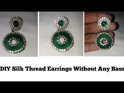 Silk thread Earrings Without any base || Easy earrings || DIY