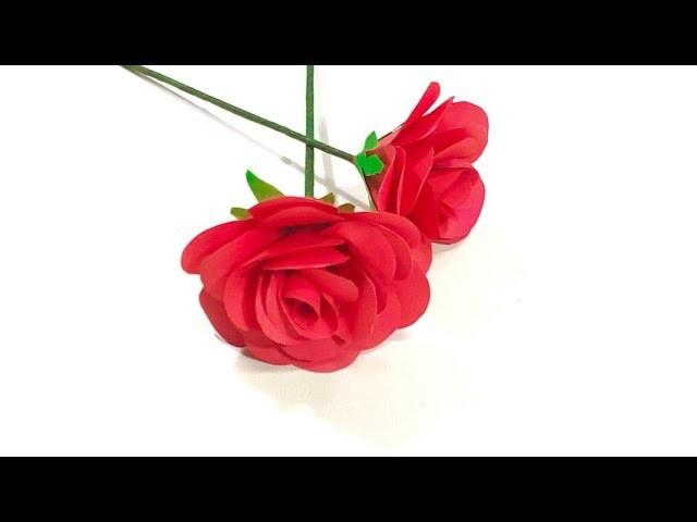 দেখুন কাগজ দিয়ে কিভাবে গোলাপ ফুল বানায়   How To Make Paper Rose ????
