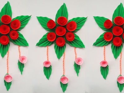 Wall hanging flower with paper rose and leaves # Diy wallflower hanging decoration easy tricks