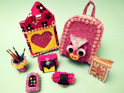 7 DIY Barbie hacks and crafts -  minature backpack, handbag, wallet, pouch, mobile, pen stand, books