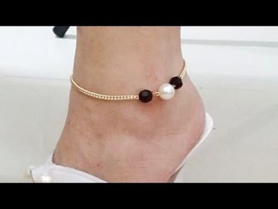 Beautiful simple easy anklet|pearl and chain anklet| diy jewellery making| anklet designs