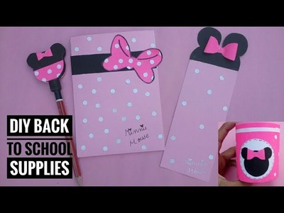 DIY Back to School supplies|Minnie mouse supplies|Super easy crafts|Prachi art and craft