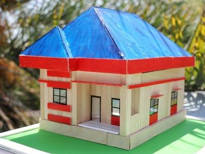 DIY Build a Miniature Popsicle Stick House - Popsicle stick crafts
